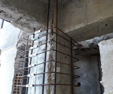 Pilastro d'angolo completato con staffe giuntate con sistema GTS