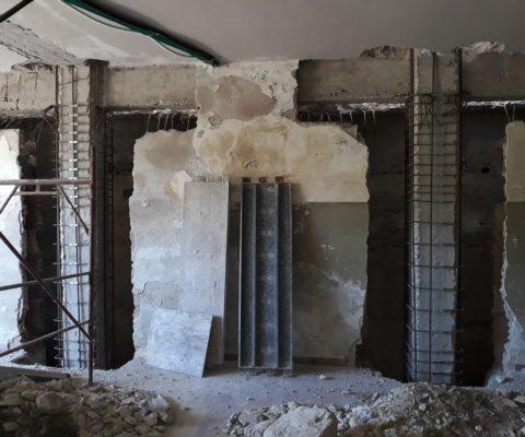 Armatura di alcuni pilastri interni completati di giunzione GTS